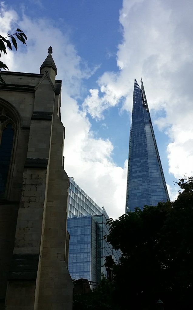 The Shard (R) and Southwark Cathedral (L)